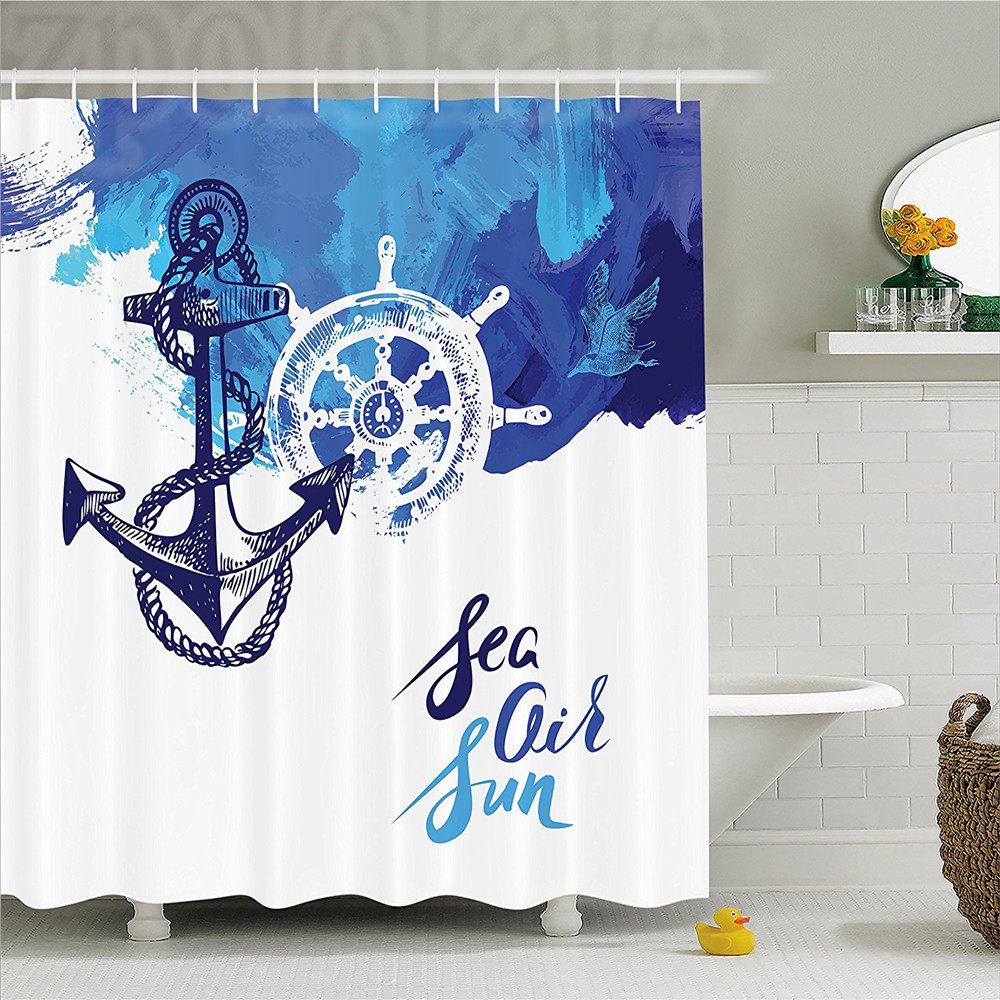 Nautical Decor Shower Curtain Vivid Ocean Back with Paint Effects with Wind Rose and Rudder Cruise Image Bathroom Decor Set wit