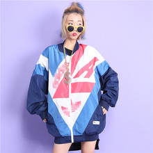 Jasmine fashion hiphop street HARAJUKU bf color block decoration print loose medium-long plus size outerwear