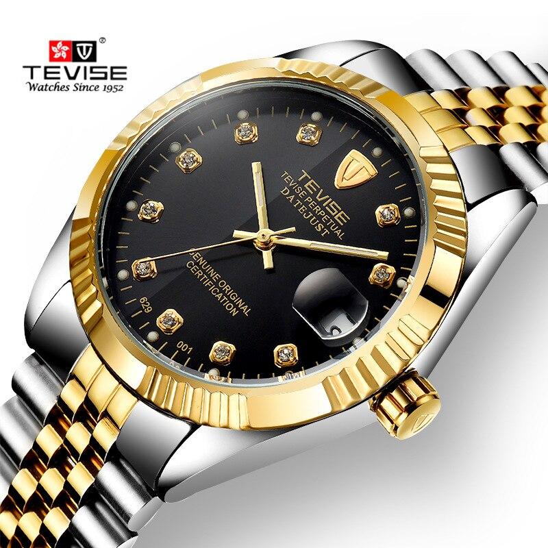 Reloj Automático de lujo TEVISE de marca superior para hombre Tourbillon función reloj mecánico movimiento reloj dorado reloj Masculino 2017 Nuevo