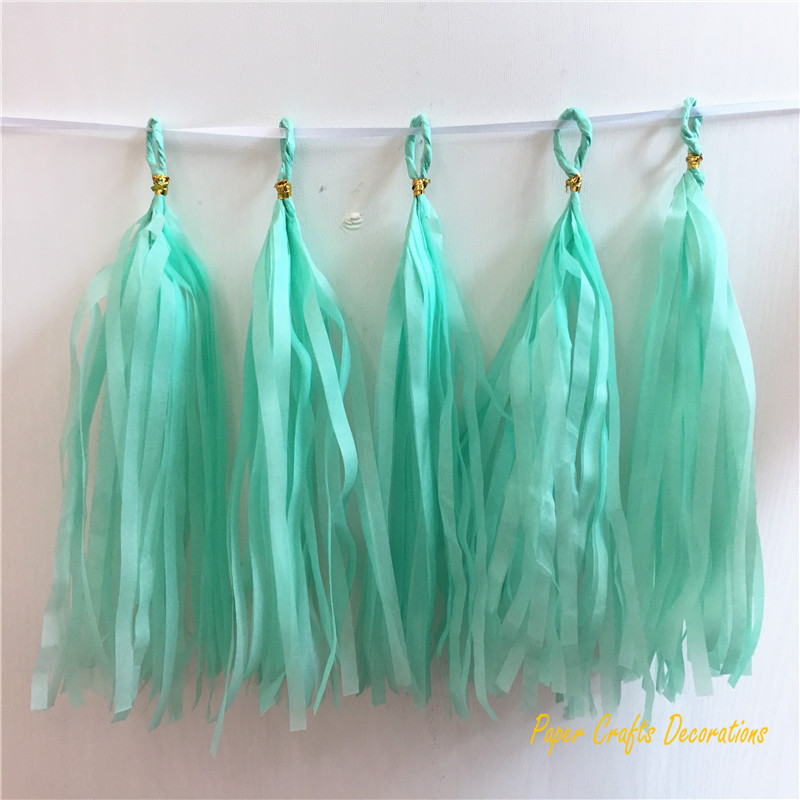 Wholesale 25*10cm 2packs/lot(5pcs/pack) Mint Green Tissue Paper Tassel Garland Birthday Wedding Baby Shower Party Decorations