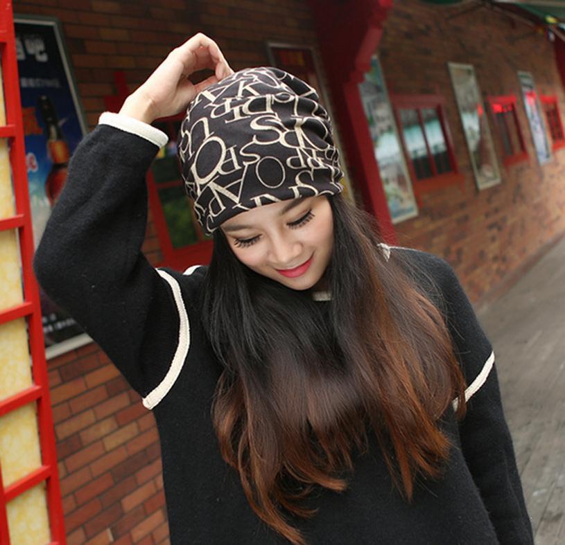 f5c8209ae9e New autumn 3 way to wear beanies winter warm cap bonnet women knitted hat  slouchy Khaki letter Baggy Soft cotton bonnet M026-in Women s Skullies    Beanies ...