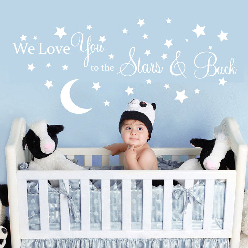 Moon Stars Love Quote Wall Sticker We Love You To The Stars And Back Quote Wall Decal Kids Baby Room Decoration Vinyl Art AY979