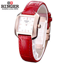 Fashion Women Binger Watches Analog Display Female Waterproof Watch Sports Rose Gold Dial Red Leather Strap Clock Wristwatch