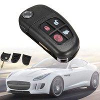 Black 4 Buttons Car Remote Flip Key Case Shell Fob Replacement For Jaguar XJ XJ8 XJR