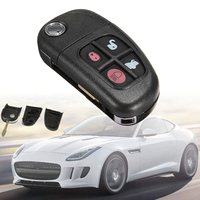 Black 4 Buttons Car Remote Flip Key Case Shell Fob Replacement For Jaguar XJ XJ8 XJR