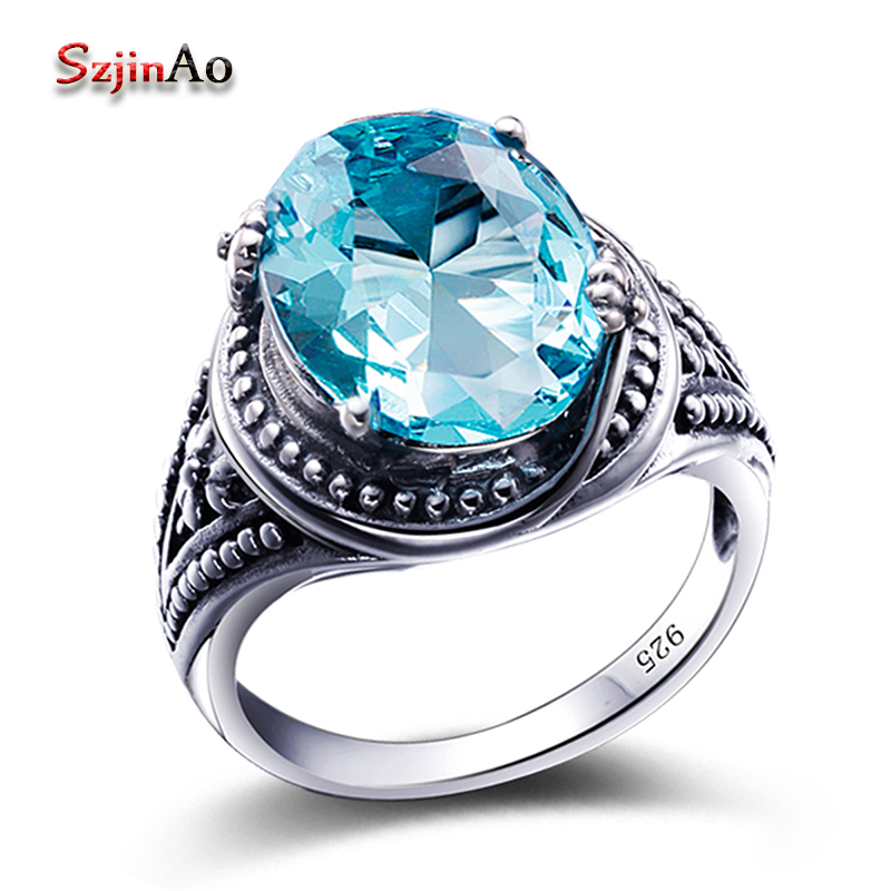 Szjinao Stylish Female 7.8ct Blue Aquamarine Round Rings For Women Bohemia Style 925 Sterling Silver Luxury Jewelry