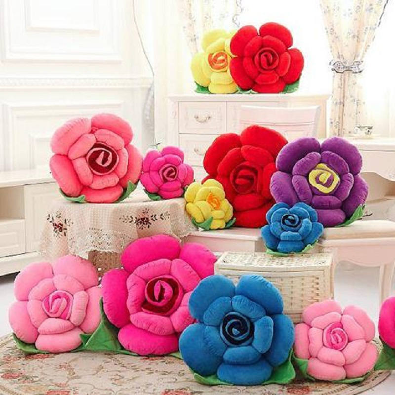 Stuffed & Plush Plants 40~50cm Large Rose Flowers Plush Toy Sofa Cushion Office Nap Hold Pillow Birthday Wedding Lover Gift 1pc