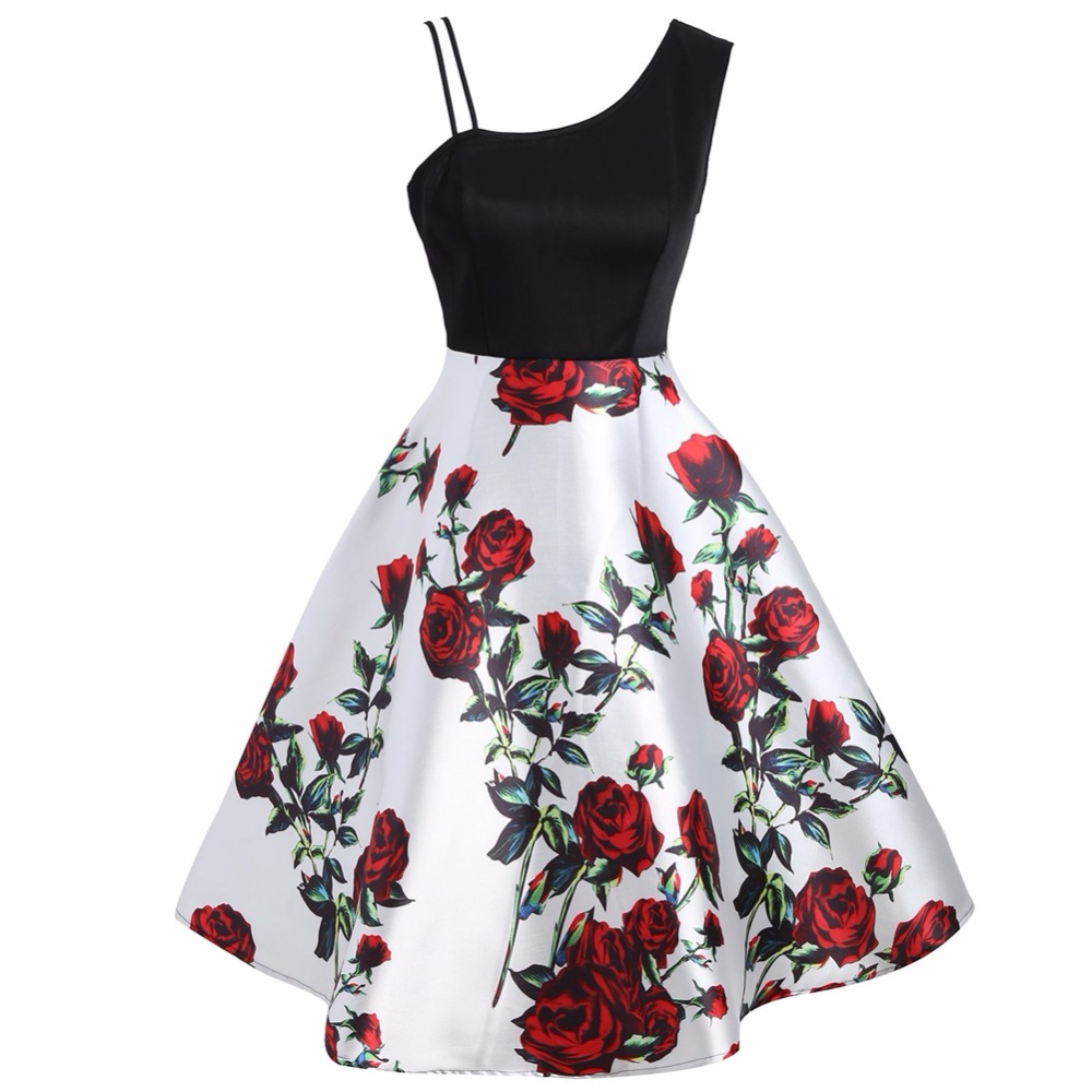 Women's Floral Print Slim Waist Dress Women Cocktail Party Sloping Shoulder Rose Large Hem Slip midi Dresses Oct18