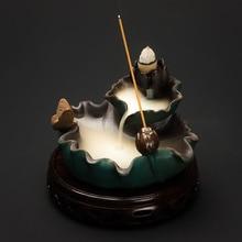 PINNY Lotus Leaf Shape Incense Burner Creative Backflow Holder Home And Tea Room Decoration Ceramic Stick Base