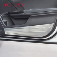 stainless steel Protector Inner Door Anti Kick Anti Dirty Pad Cover Trim For Honda Civic 2016 2017 10th 4Pcs/set