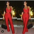 Bandage Jumpsuits For Women 2016 Spagetti Strap Bandage Jumpsuit Overalls Womens Red Jumpsuit Deep V Neck Backless Wholesale HL
