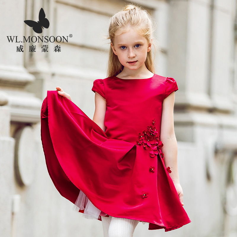 Brand girl dresses 2019 fashion princess costume red baby girl clothes baby girl clothes children dance dress