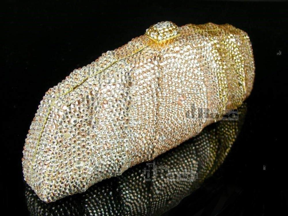 ФОТО 7746Z Crystal Gold / Peach / Clear Lady fashion Bridal Metal Evening purse clutch bag case handbag