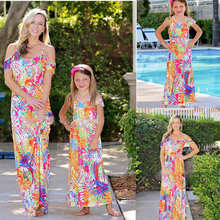 Mother and Daughter Dresses Fashion Parent-child Off-shoulder Dress Family Matching Outfits Mom Half Sleeve Print E0128