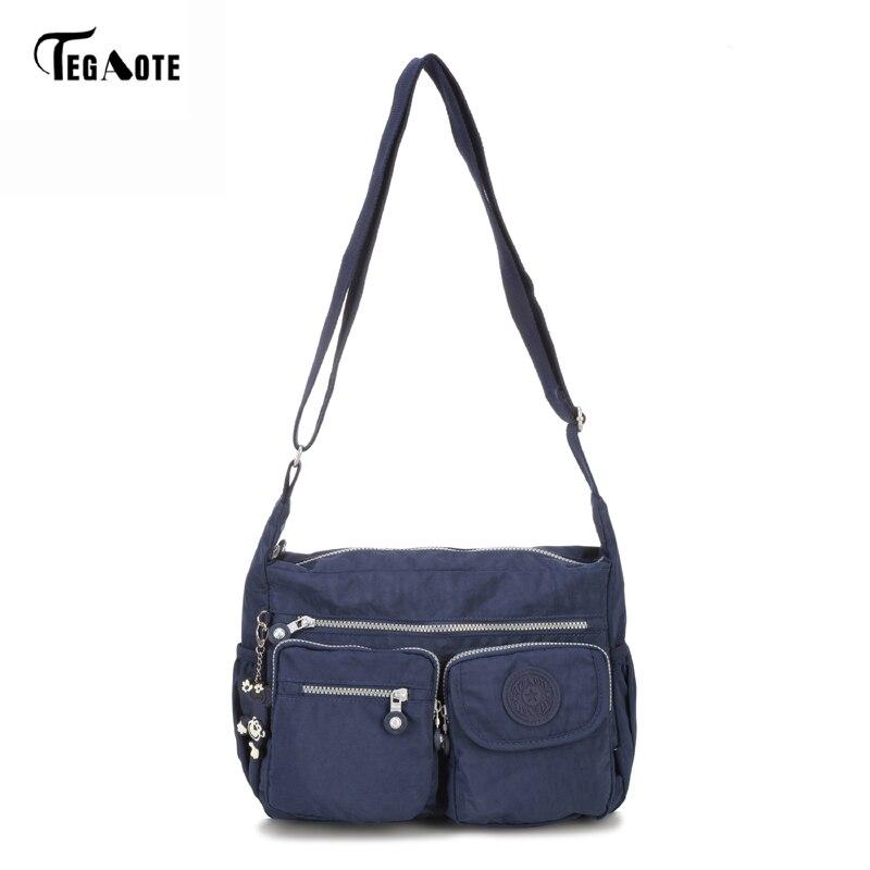Tegaote бренд Для Мужчинs Курьерские сумки Водонепроницаемый Высокое качество молнии сумка Для женщин nylon Crossbody пляжная сумка черный дизайнер ...