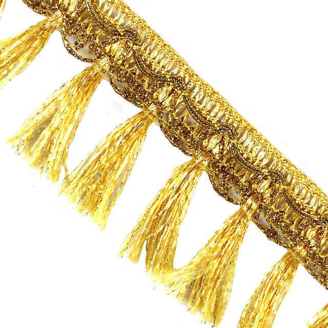 10yards DIY Accessories Tassel Fringe Trim Ribbon Sewing Dance Stage  Curtain Decorative Gold Fringe T2791
