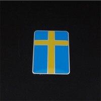 BBQ FUKA Pole Bright Blue Yellow Sweden Flag Car Sticker Badge Car Grille Emblem Fit For