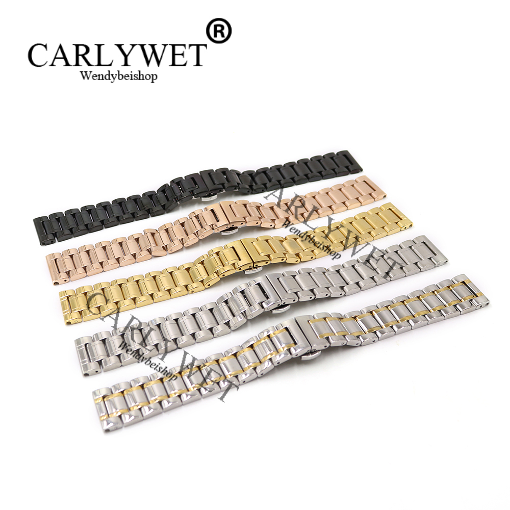 CARLYWET 14 16 18 19 20 21 22 24 26 28 30mm Argent Noir Or Rose Remplacement Wrist Watch bande Bracelet Pour Rolex Omega IWC TAG