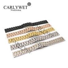 CARLYWET – Bracelet de rechange pour Rolex Omega IWC, argent, noir, Rose, or, 14 16 18 19 20 21 22 24 26 28 30mm