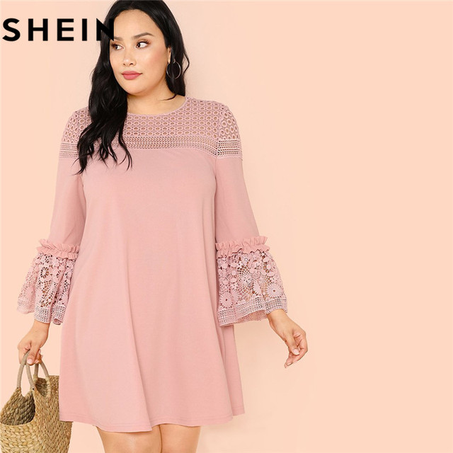 0225f07007 SHEIN Elegant Pink Ruffle Lace Sleeve Plus Size Womens Mini A-Line Dress  2018 Guipure Lace Insert Frill Trim Solid Short Dresses