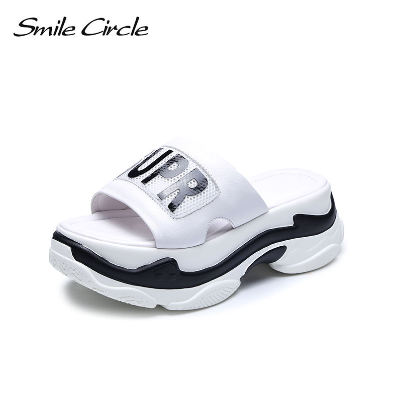 Smile Circle Summer Slippers Sandals Woman Genuine Leather Flat Platform Shoes Women Thick bottom Sandals chaussures femme ete