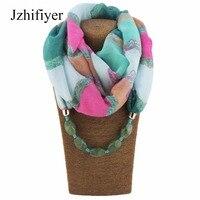 Jzhifiyer Scarf Fashion Print Necklace Pendant Scarfs Jewellery Bali Yarn Material Necklace Shawls Hijab Women Bandanas