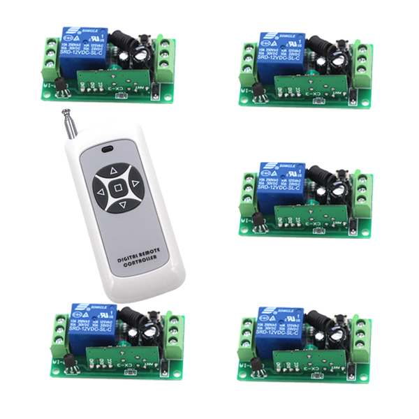 Relay Remote Control Switch High Load Current RF Wireless Smart Switch 315/433MHZ 1Transmitter +5Receivers Smart Home 315 433mhz 12v 2ch remote control light on off switch 3transmitter 1receiver momentary toggle latched with relay indicator