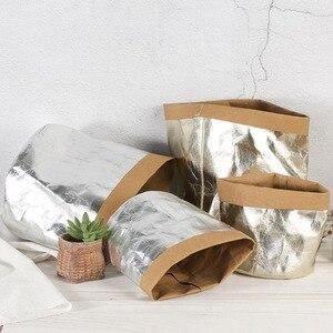 Torby do przechowywania papieru Kraft torba na doniczki zmywalne rośliny warzywa powiększająca torba kosz doniczka pokrywa odzież dla dzieci zabawka organizator