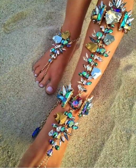 2016 New Crystal Long Anklet Bracelet Fashion Summer Vocation SandalSexy Leg Chain Boho Femme  Anklets Statement Jewelry