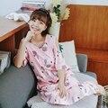 6ea46014194 Loose Cute Sexy Off-Shoulder Print Bird Summer 2018 Nightdress Girls Women  Ruffles Sleepshirt Cotton Short Sleeve Lounge D85303