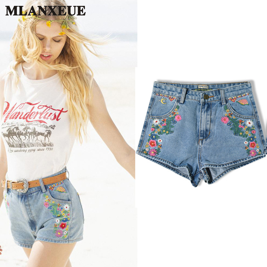 Bohemia Denim Shorts Woman Fashion Embroidered Blue Jeans Slim High Waist Shorts Beach Winds Female Hot Pants 2017 Summer New chicd 2017 new women basic shorts summer fashion slim mid waist white letter printing pockets denim jeans shorts mujer xp377