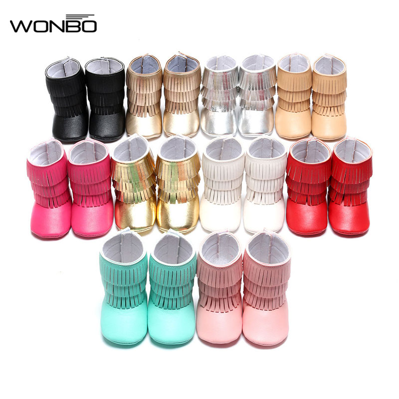 WONBO New arrived Pu suede leather 3 layer Tassel moccasins baby Newborn baby boots infant first step shoes