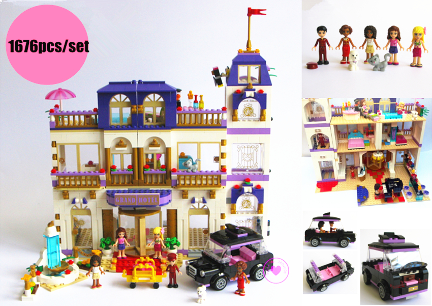 New Friends Series Heartlake Grand Hotel fit legoings Friends figures city Model Building Blocks Bricks diy toys girl kid gift toy 10166 friends series heartlake city school model building kit blocks bricks girl toy gift compatible with toys