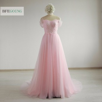 Pink Tulle A-line Formal Evening Dress Court Train  Sweetheart  Spaghetti Straps Appliques Beading Belt Custom made