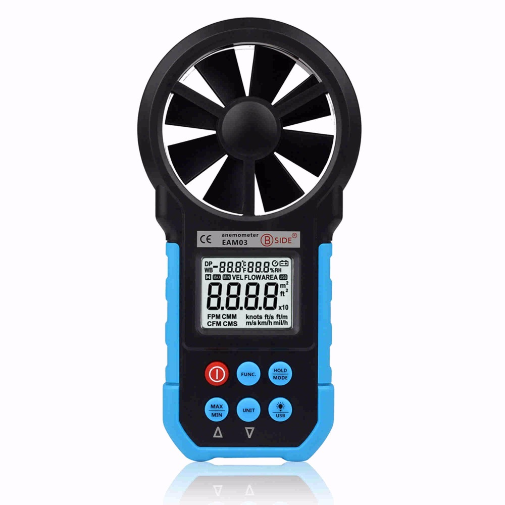 BSIDE EAM03 Digital Anemometer Air Volume/Wind Speed/Area/Temperature Humidity Meter Gauge Tester with USB digital indoor air quality carbon dioxide meter temperature rh humidity twa stel display 99 points made in taiwan co2 monitor