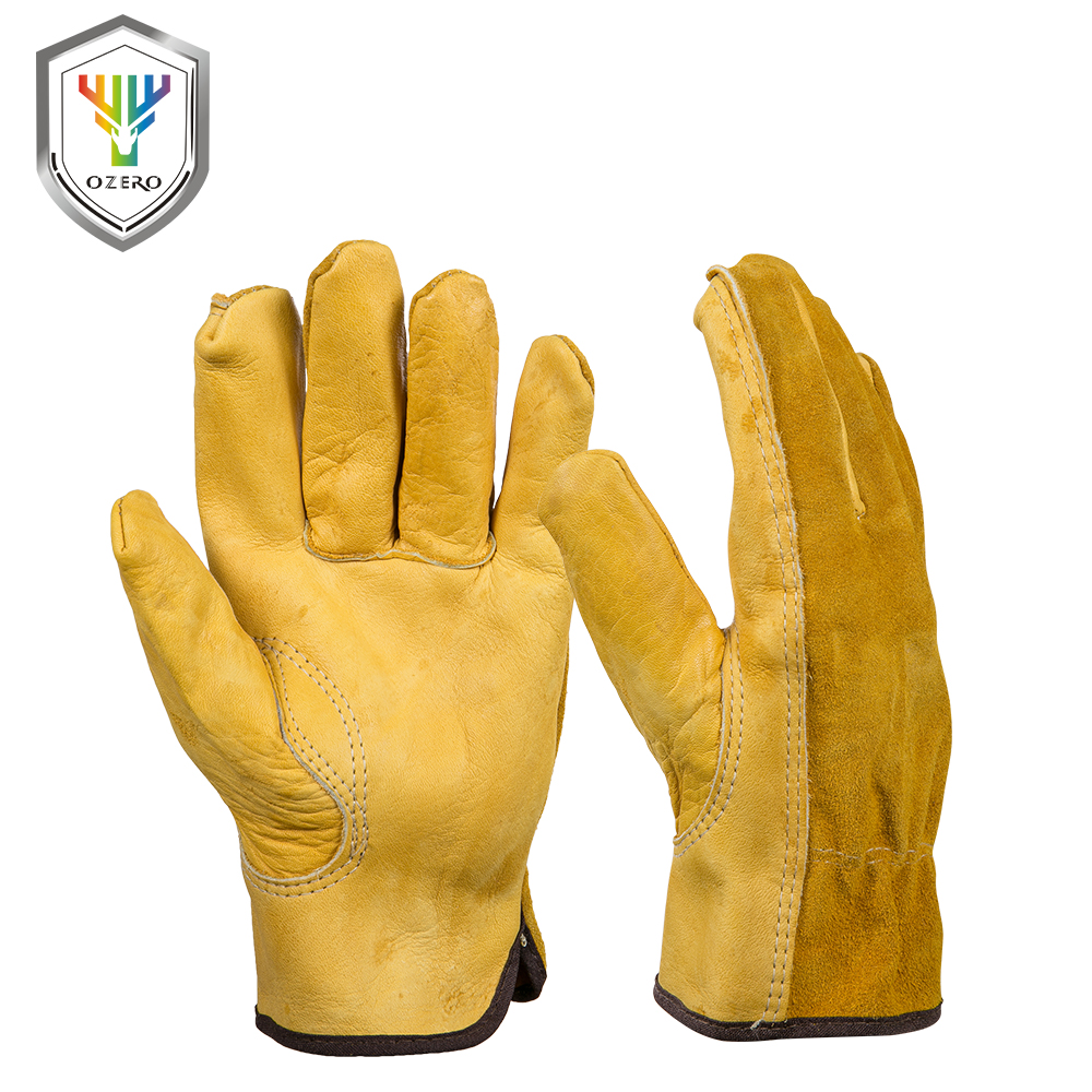 Leather work gloves sale - Sale New Cowhide Men S Work Driver Gloves Security Protection Wear Safety Workers Welding Hunting Gloves For