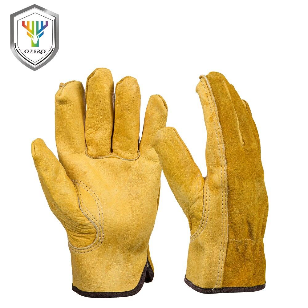 VENDITA Nuovo degli uomini della Pelle Bovina di Lavoro guanti del Driver di Protezione di Sicurezza di Sicurezza Usura Operai Saldatura Guanti di Caccia Per Gli Uomini 0007