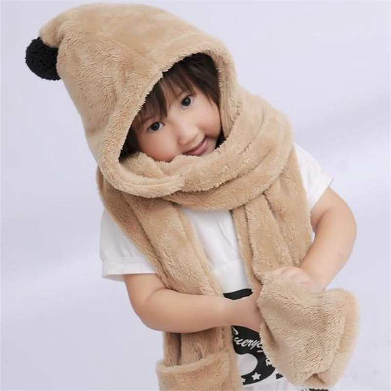 autumn and winter children 's hat scarf gloves one plush double-plush fabric warmer solid soft for kids scarves hats goloves