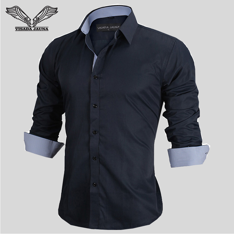 VISADA JAUNA European Size 2017 Spring Men's Shirts Long-sleeved Business Casual Stitching Solid Arrival Dress High Quality N917