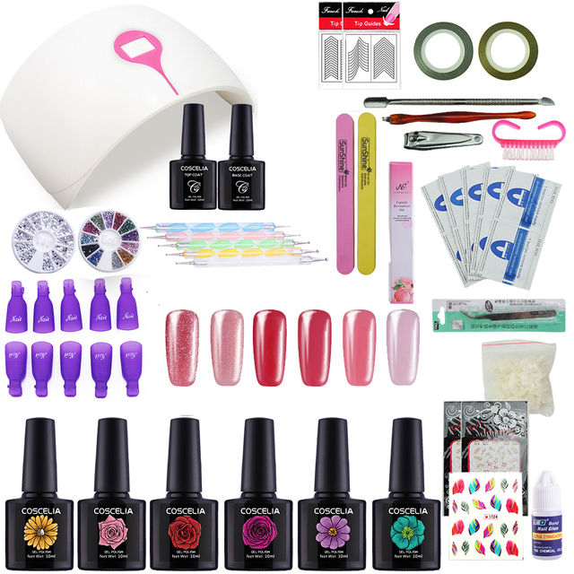 Manicure Set for Gel Nail Polish Nail Kit with Lamp 24W UV Led Nail ...
