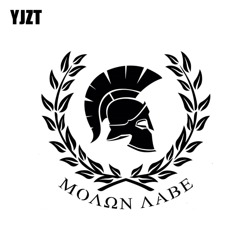 YJZT 18CM*16.6CM MOLON LABE Warrior Sparta Personaily Decal Vinyl Car Sticker Black/Silver C10-01056