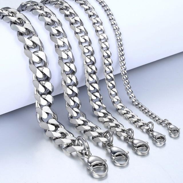 """3-11mm Men's Bracelets Silver Stainless Steel Curb Cuban Link Chain Bracelets For Men Women Wholesale Jewelry Gift 7-10"""" KBM03 2"""