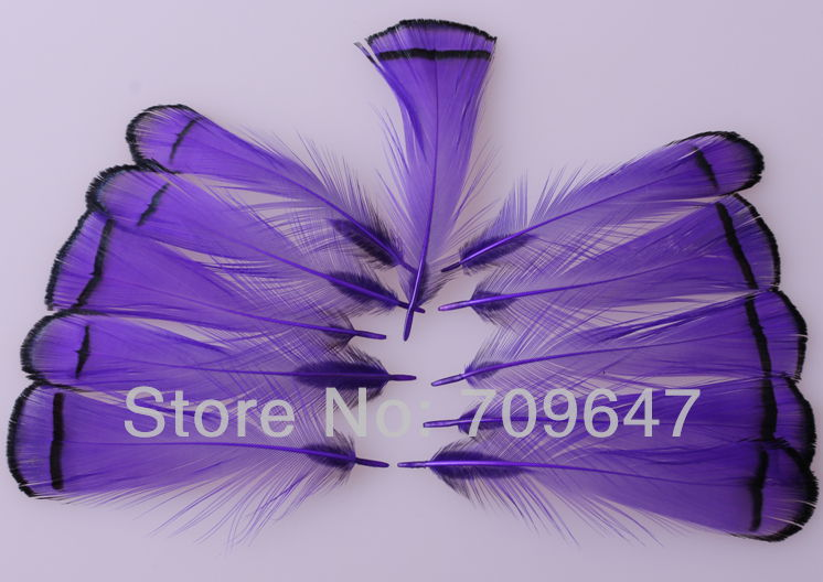 100Pcs/Lot!6-8CM Purple Colour Dyed Lady Amherst Pheasant PLUMAGE Feathers for facinators earrings hair fly tying crafts