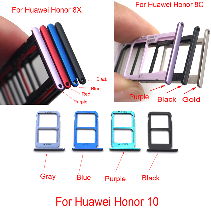 New Sim Cards Adapters For Huawei Honor 8c 8X 10 Sim Card Holder Tray Card Slot Replacement