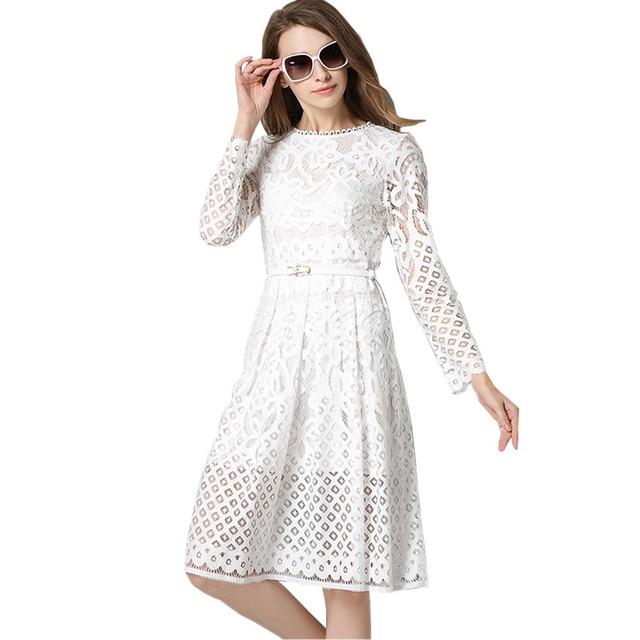 fb5a3caea Mujeres Encaje vestido 2017 nueva primavera verano moda elegante damas de  manga larga negro blanco Oficina