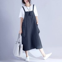 Fashion Autumn Sleeveless Pullover Bib Overalls Mid Calf Dress Women Pockets Leisure Casual Solid Simple Bandage