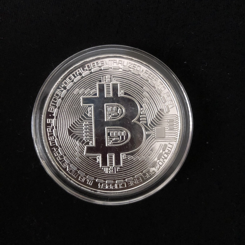 shop Silver Plated Bitcoin Physical Coin with crypto, pay with bitcoin
