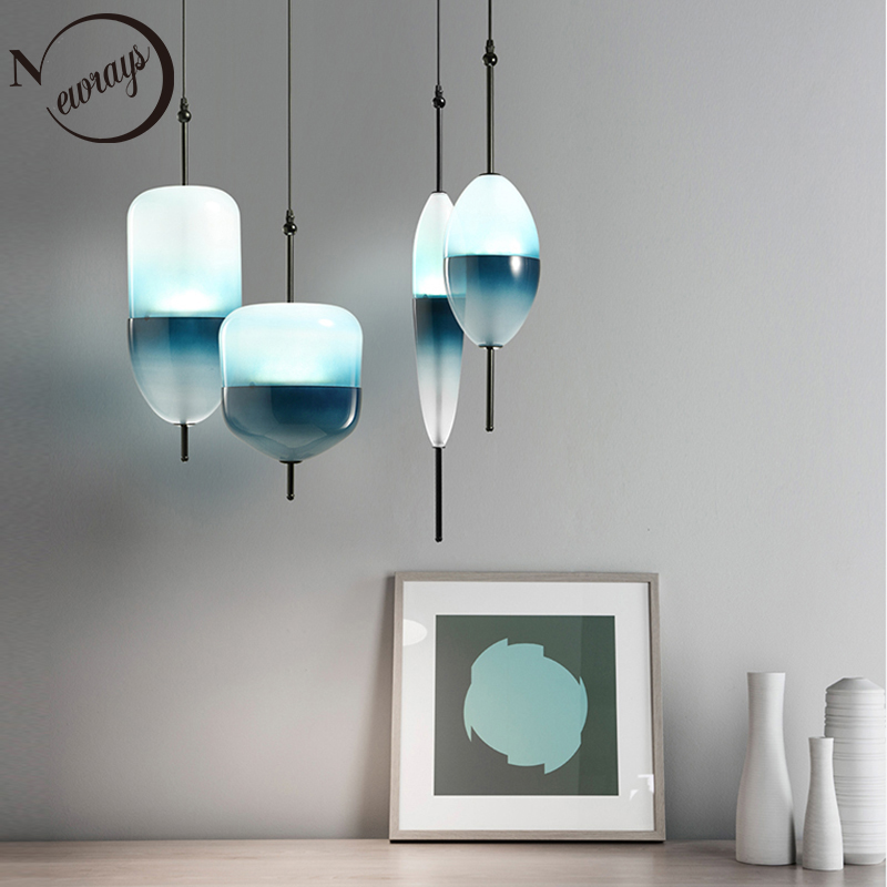 Nordic modern teardrop shaped blue glass pendant light LED art deco simple white hanging lamp for