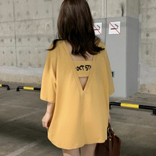 Women T-shirt open back 2019 new summer female T-shirt half sleeve loose teenage girl white yellow gray Korean style c18 dolman sleeve twist open back t shirt