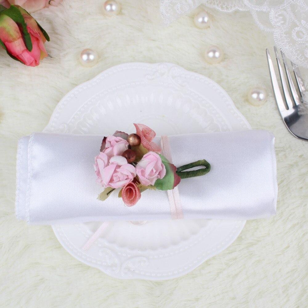Ourwarm 10pcs Satin Table Napkin Wedding Napkins 30*30cm Napkin Pocket Handkerchief for Wedding Table Decoration Accessories
